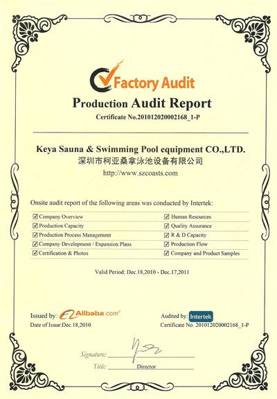 Factory Audit - KEYA Sauna and Swimming Pool